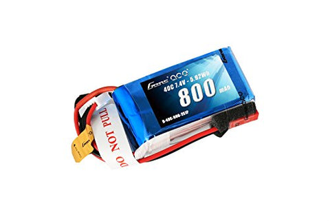 Gens ace 800mAh 2S 7.4V 40C LiPo Battery Pack with JST-SYP Plug for 250 Helicopter 800mm Warbird