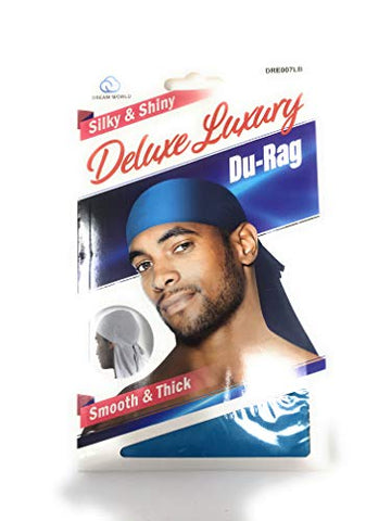 Dream Deluxe Du-Rag Light Blue- Smooth & Thick, Superior Quality, Stretchable, Wrinkle Free, 100% Polyester