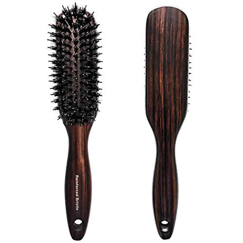 Boar Bristle Hair Brush with Nylon Pins for Thick Curly Long Wet Hair - Anti Static Brush - Wooden Paddle