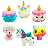 Yonishy Unicorn Squishies Toy Set - Jumbo Narwhale Cake,Unicorn Cake,Unicorn Donut,Dog,Unicorn Horse,Ice Cream Cat Kawaii Slow Rising Squishy Toys for Kids Party Favors(6 Packs) - ShopGlobal24x7
