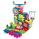 Krazy Gears Gear Building Toy Set - Interlocking Learning Blocks - Motorized Spinning Gears - 81 Piece Playground Edition