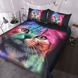 BlessLiving Cat Bedding for Girls Boys Cute Colorful Cat Pattern Bedspread 3 Piece Bold Color Black Animal Duvet Cover Set (Twin)