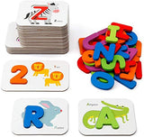 Coogam Numbers and Alphabets Flash Cards Set - ABC Wooden Letters and Numbers Animal Card Board Matching Puzzle Game Montessori Educational Toys Gift for Toddlers Age 3 Preschool and Up Years - ShopGlobal24x7