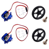 Feetech FS90R 360 Degree Continuous Rotation Micro Servo Motor + RC Tire Wheel for Arduino Microbit WIshioT (Pack of 2)
