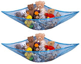 Jumbo Toy Hammock, Blue - Organize Stuffed Animals and Children's Toys with this Mesh Hammock. Great Decor while Neatly Organizing Kid's Toys and Stuffed Animals. Expands to 5.5 feet. (2-Pack)