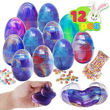 JOYIN 12 PCs Silly Fluffy Galaxy Slime Colorful Putty with Accessories for All Ages Kids, Stress Relief Sludge Toys, Prefilled Easter Theme Party Favor Supplies, Basket Stuffers, Great Family Games. - ShopGlobal24x7