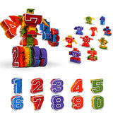 Lydaz Number Robots Transforming Autobots Toy Educational STEM Learning Bots Fine Motor Skill Toys Gift for 3 4 5 6 Years Old Boys Preschool Toddlers Kids (0-9 Numbers Robots)