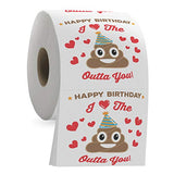 Happy Birthday Funny Toilet Paper Roll - I Love the Poop Outta You - Romantic Poop Emoji 3 Ply Tissue Paper - Funny Bathroom Novelty Joke Present - Image on Each Sheet - Unique Mens Bday Gag Gift Idea - ShopGlobal24x7