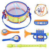 iPlay, iLearn Toddler Musical Instruments Toys, Kids Drum Set, Percussion, Tambourine, Trumpet, Maraca, Harmonica, Flute, Learning Gift for 18 Month 2 3 4 5 Year Olds Baby Boys Girls Children (Blue) - ShopGlobal24x7