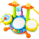 Drum Set for Kids Electric Musical Instruments Toys with 2 Drum Sticks Adjustable Microphone and Background Music Lights Early Learning Education Birthday Gifts for Preschool Boys Girls Children