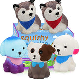 POKONBOY Jumbo Squishy Toy Squishies Dog 5 Pack Kawaii Cream Scented Squishies Party Supplies Toys Stress Reliever Toys for Boys and Girls