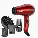 BERTA 1875W Hair Dryer Negative Ionic Blow Drye 4 Attachments, 2 Speed and 3 Heat Settings Professional AC motor, Cola Red