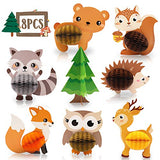 8 PCS Woodland Animals Honeycomb Centerpieces Woodland Creature 3D Table Decorations for Woodland Baby Shower Birthday Party Decorations Supplies - ShopGlobal24x7