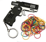SUNNYHILL Rubber Band Gun Mini Metal Folding 6-Shot with Keychain and Rubber Band 100+
