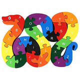 lovestown Alphabet Jigsaw Puzzle Building Blocks Animal Wooden Puzzle , Wooden Snake Letters Numbers Block Toys for Childrens Toys - Snake