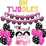 Oh Twodles Balloons Minnie Mouse Second Birthday Cake Topper 2nd Banner Party Supplies Decorations Photo Prop for Girl Baby Bday