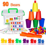 BMAG Counting Bears with Matching Sorting Cups,Number Color Recognition STEM Educational Toy for Toddler, Pre-School Learning Toy with 90 Bears,2 Tweezers,11 Activity Cards,1 Storage Box - ShopGlobal24x7