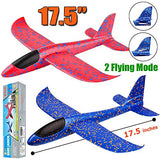 "2 Pack Airplane Toys, 17.5"" Large Throwing Foam Plane, 2 Flight Mode Glider Plane, Flying Toy for Kids, Gifts for 3 4 5 6 7 Year Old Boy, Outdoor Sport Toys Birthday Party Favors Foam Airplane - ShopGlobal24x7"