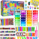 126 Pcs DIY Slime Making Kit for Girls Boys - Birthday Idea for Kids Age 5+. Ultimate Fluffy Slime Supplies Include 28 Crystal Slime, 2 Glow in The Dark Powder, 48 Bottle Glitter Jar etc. - ShopGlobal24x7