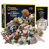 NATIONAL GEOGRAPHIC Rocks & Fossils Kit - 200 Piece Set Includes Geodes, Real Fossils, Rose Quartz, Jasper, Aventurine, & Many More Rocks, Crystals & Gemstones - ShopGlobal24x7