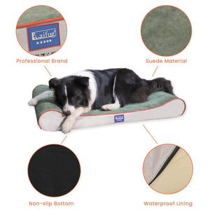 Laifug Foam Mattress Dog Bed Contour Bed with Removable Washable Cover and Waterproof Liner Nonskid Bottom - Friendly Design Ideal for Crate or Kennel