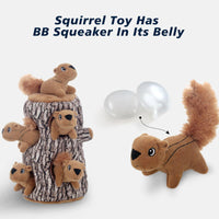 LaiFug Hide-A-Squirrel Squeaky Puzzle Plush Dog Toy,Interactive Squeaky Hide and Seek Plush Dog Toy