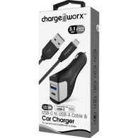 Chargeworx USB-A + USB-C Car Charger & USB-C Cable, Black