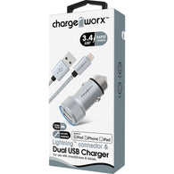 Chargeworx 3.4A USB Car Charger & Lightning Cable