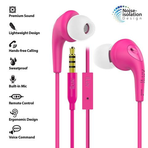 iLuv Bubble Gum 3 In-Earphones w/ Mic & Noise Isolation - Pink