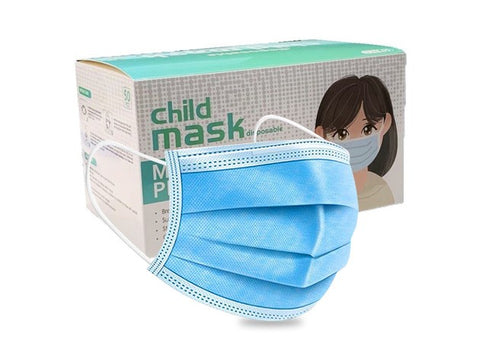 Disposable Blue 3-Ply Child's Face Mask - 50 Pack