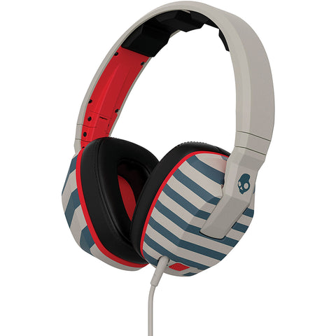 SkullCandy Crusher Headphones with Built-in Amplifier and Mic - Stripes/Tan