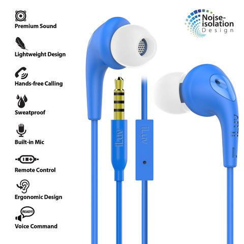 iLuv Bubble Gum 3 In-Earphones w/ Mic & Noise Isolation - Blue