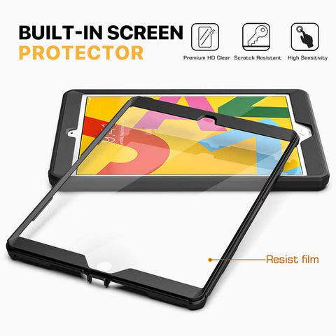 MoKo Case Fit New iPad 10.2 2019 Heavy Duty Shockproof Full Body Rugged Hybrid Cover w/ Built-in Screen Protector