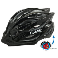 GoMax Aero Adult Adjustable Safety Helmet w/ Chin Strap, Visor & Rear LED Light - Medium