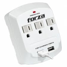 Forza 3 Outlet Surge Protector Wall Tap w/ Dual USB Charging Ports