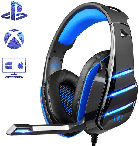 Beexcellent Gaming Headset for PS4 Xbox One PC Mac Controller  w/ Noise Isolation/Mic/LED Light for PC/Laptop/Tablet/Mac