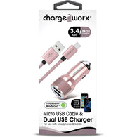 Chargeworx 3.4A Dual USB Car Charger with Escape Hammer & Micro USB Cable