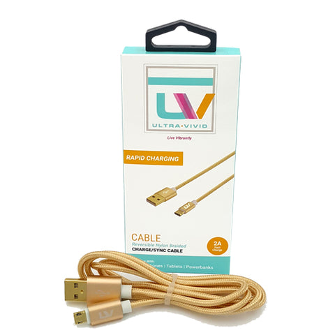 Ultra Vivid Reversible Micro USB Nylon Braided Charge/Sync Cable - Gold