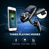 "VicTsing Bluetooth In-Car FM Transmitter w/ USB Charger/AUX/ 1.44"" Display/TF Card Slot"