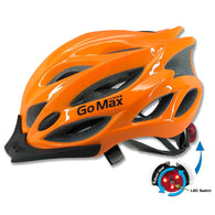 GoMax Aero Adult Adjustable Safety Helmet w/ Chin Strap, Visor & Rear LED Light - Large
