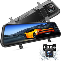 "VanTop H609 Dual 1080P Mirror Dash Cam with 10"" IPS Full Touch Screen w/Waterproof BackupRear View Camera, Night Vision, Parking Monitor, Loop Recording"