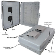 "Altelix Vented NEMA Enclosure 17x14x6 (14"" x 9"" x 4.2"" Inside Space) Polycarbonate + ABS Tamper Resistant Weatherproof"