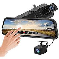 "Rear-View 10"" Mirror Dash Cam - Dual Lens, Front & Rear Dash Camera  1080P Full Touch Screen - Video Streaming, Loop Recording, Parking Monitor, Night Vision, Waterproof Rear Camera"