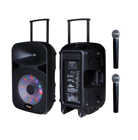 "MYO Two Way Active Black Loudspeakers 15"" Sub/BT/MP3/SD Card/MicroPhone"