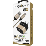 Chargeworx 2.4A Dual USB Metal Wall Charger & 3FT Micro USB Cable