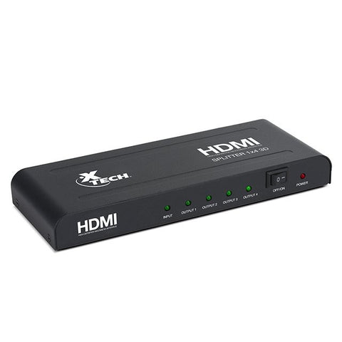 Xtech 4-way HDMI Splitter 1 Input to 4 Outputs