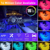 CT CAPETRONIX Interior 4pcs Waterproof RGB 48 LEDs, Music Car LED Lights, Under Dash Lighting Kit with Car Charger DC 12V w/ APP & IR Remote