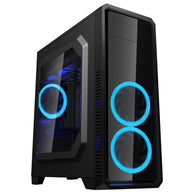 Myo G510 Black Gaming Case w/ 2 Front + 1 Rear LED Blue Fans