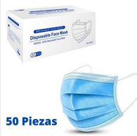 Disposable Blue 3-Ply Face Mask - 50 Pack