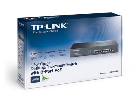 TP Link TL-SG1008PE 8 Port Gigabit POE Rackmount Switch with 8 PoE + Ports